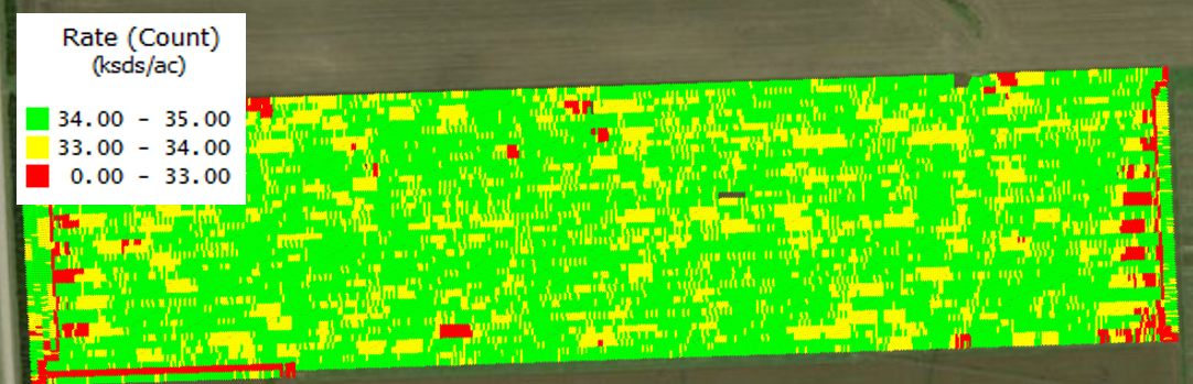 An as-planted, GPS-generated image of a field showing where crops were planted.