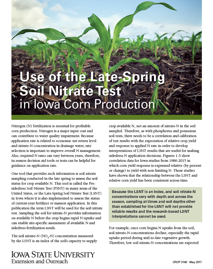 Cover of ISU Crop 3140 Extension Publication