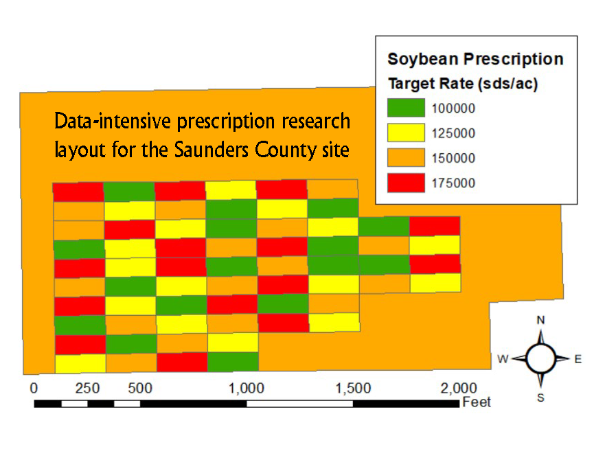 Plot design for data-intensive prescsription research on soybean seeding rate