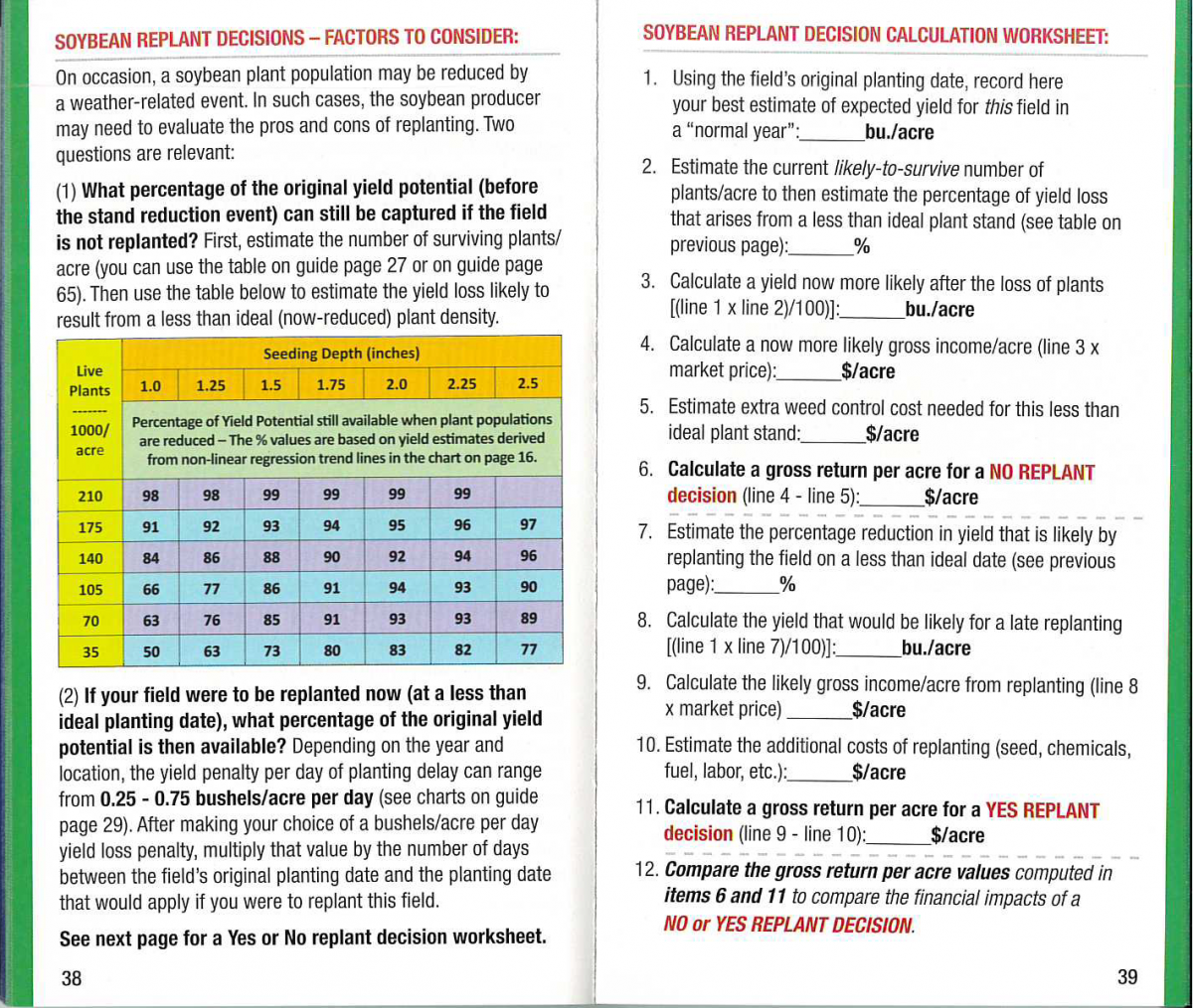 Soybean replant calculator from the Soybean and Corn Pocket Field Guide