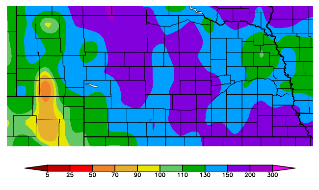 Nebraska map of precipitation from Oct. 1 - May 28