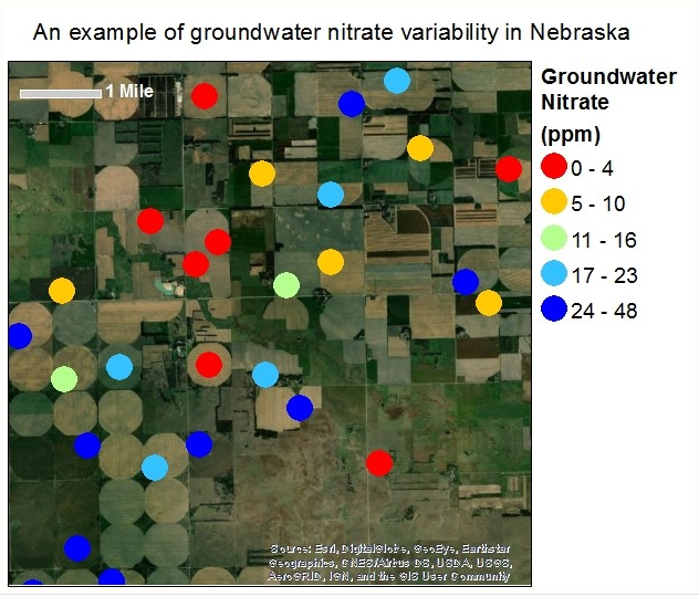 Example of groundwater nitrate variability in Nebraska