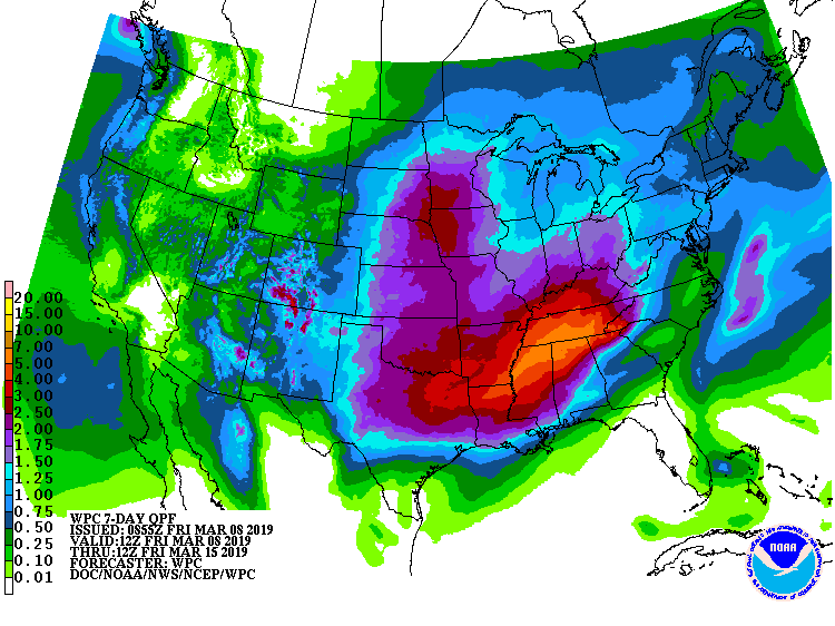 US Map from NOAA's Weather Prediction Center forecasting precipitation for March 8-15.