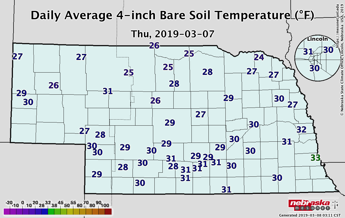 Map of Nebraska soil temperatures as of March 7