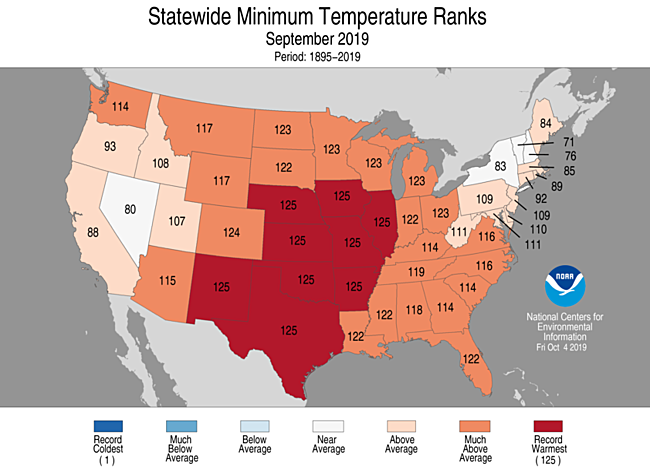 National map showing minimum temperature ranking by state for September 2019