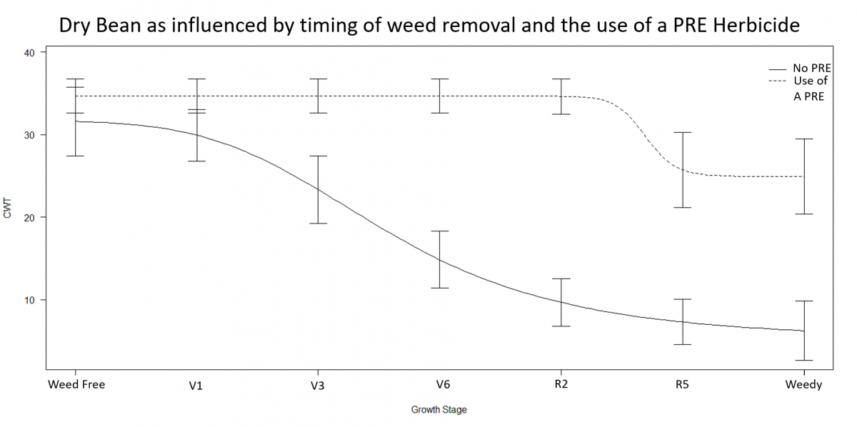 Graph of weed control timing on dry bean yield