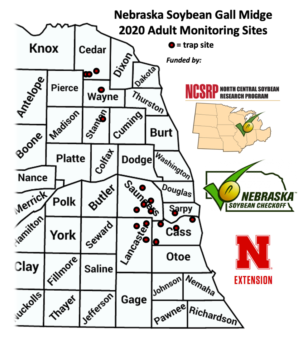 Map of Soybean gall bidge monitoring sites