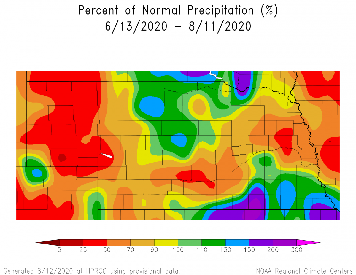 Sixty-day precipitation trend for Nebraska for the period June 13 – August 11, 2020.
