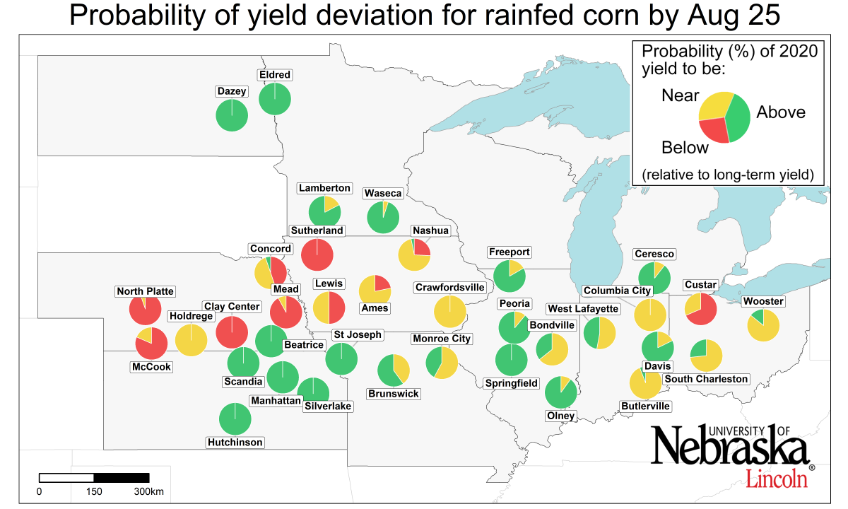 probability of yield deviation for rainfed corn stage by August 25