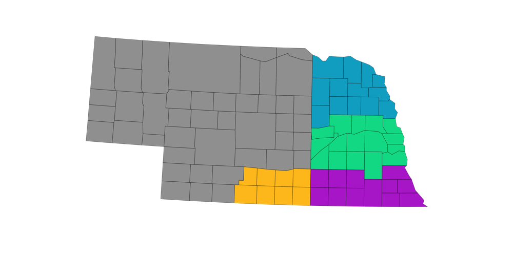 Map of Nebraska USDA Crop Reporting Districts