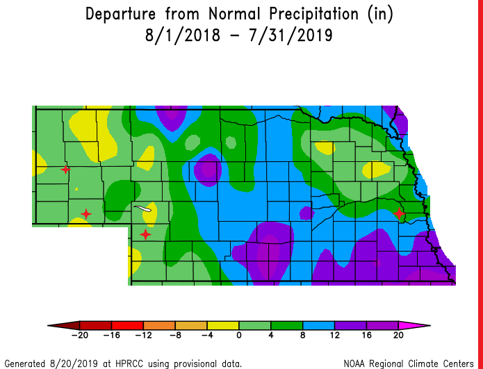Graph of Departure from Normal Precipitation August 1, 2018 to July 31, 2019