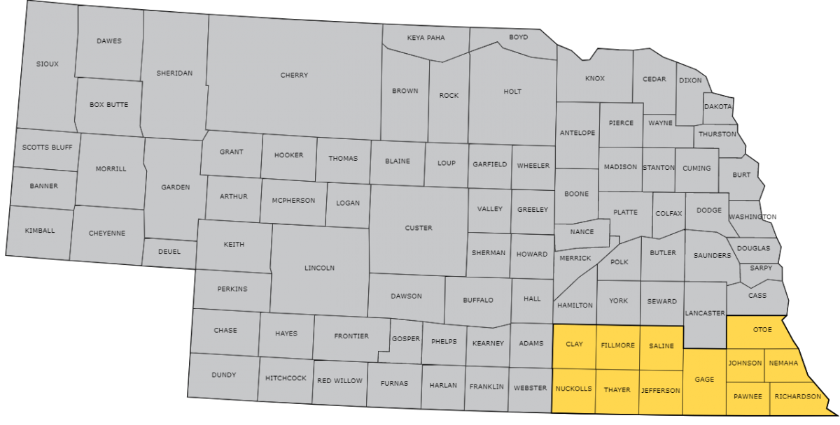 Map of Southeast Nebraska USDA Crop Reporting District consisting of Clay, Nuckolls, Fillmore, Thayer, Saline, Jefferson, Gage, Otoe, Johnson, Nemaha, Pawnee, and Richardson counties.