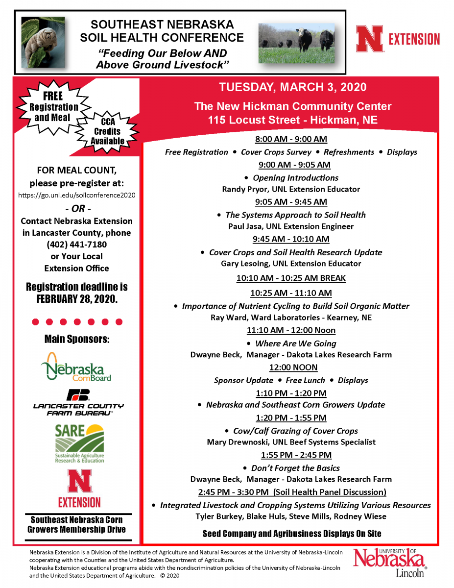 Southeast Nebraska Soil Health Conference agenda
