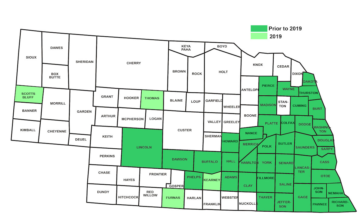 Distribution of Japanese beetles in Nebraska