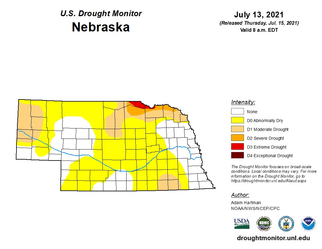 Drought map for July