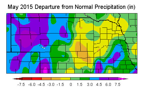 May 2015 Departure from Normal Precipitation