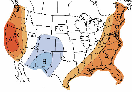 us map of climate prediction center october temperature forecast