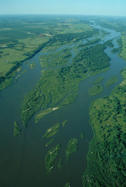 Aerial view of the Platte River in the Central Platte Natural Resource District