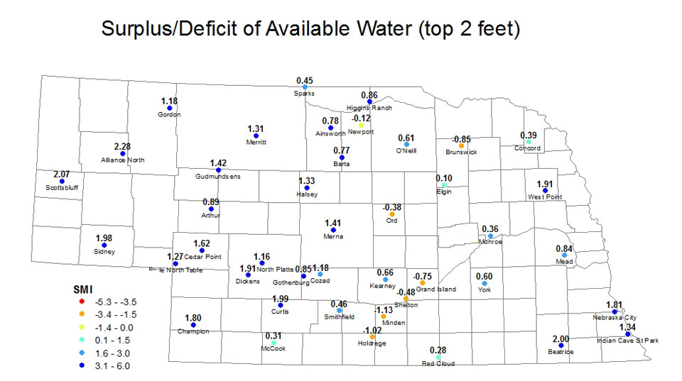 Surplus or deficit soil moisture