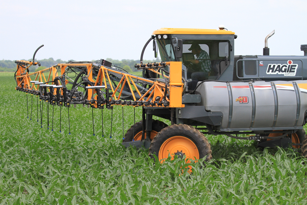 High rigged nitrogen applicator in the field