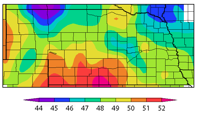 map of 7-day average soil temperatures at 4 inches