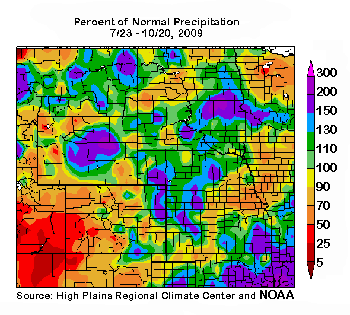 Map of the Central Plains 90-day Precipitation