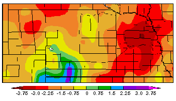 Nebraska map showing departure from normal precipitation for May 1-May 31.
