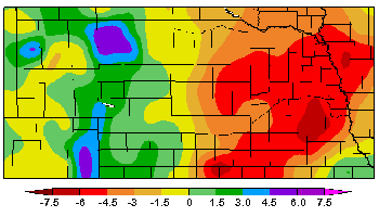 Nebraska map showing departure from normal precipitation for January 1-June 2