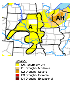 Abnormally dry crop areas