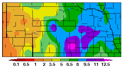 Nebraska map showing precipitation in the state since Oct. 1, 2008.