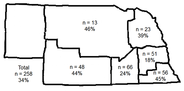 Map showing locations for cover crop survey respondents