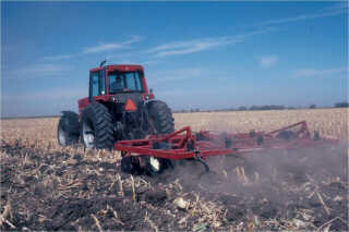Chisel plowing corn residue