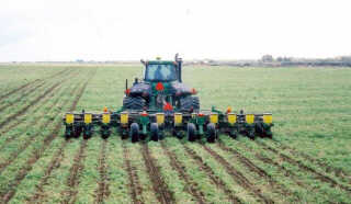 Strip-till implement with the planter attached.