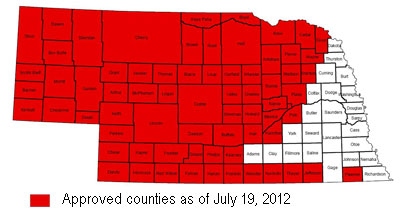 Map of counties authorized for emergency haying and grazing of CRP