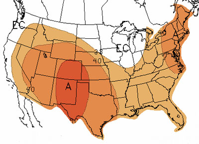 U.S. map of June-August temperature outlook