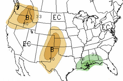 U.S. map of June-August precipitation outlook