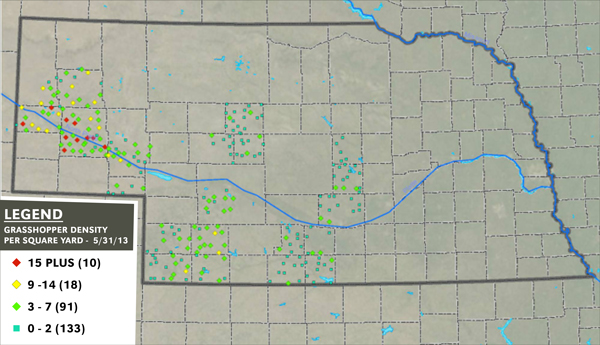 Map showing risk areas for rangeland grasshopper risk