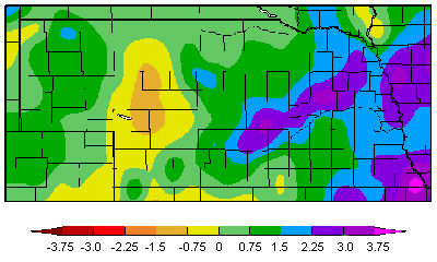Departure for average April precipitation