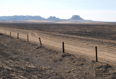 Burned rangeland near Crow Butte, Nebraska September 2012