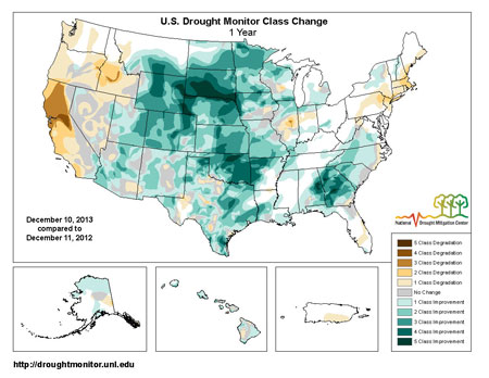 Map showing 1 year drought change