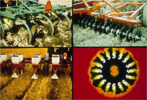 Chisel, disk, and no-till photos with dollar signs.