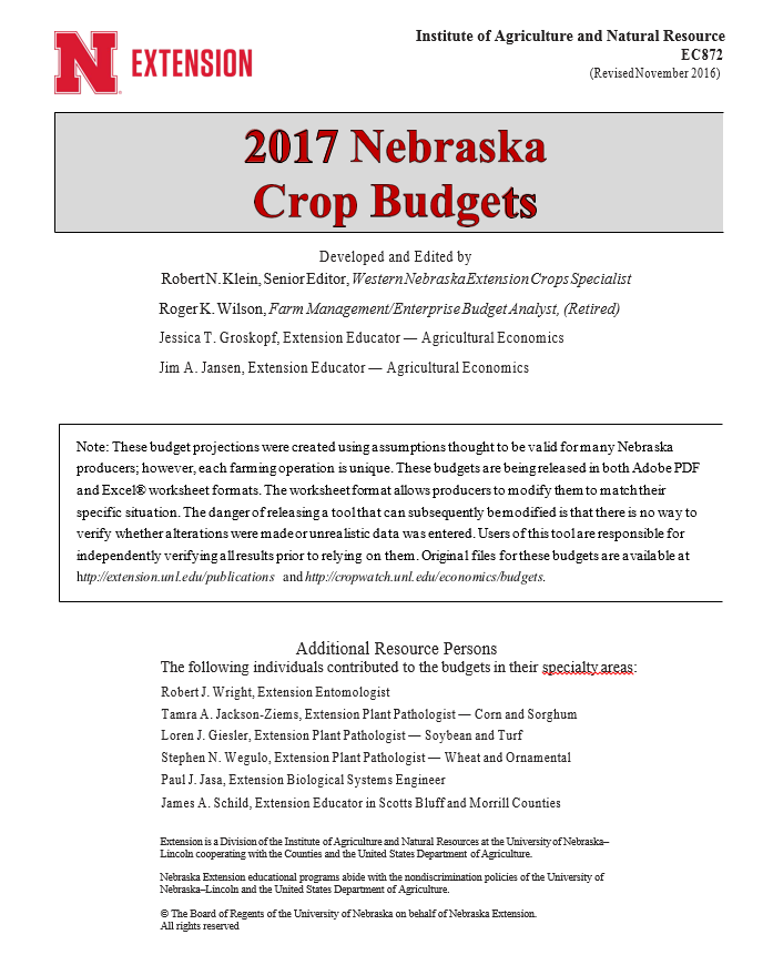 Using the 2017 Crop Budgets to Focus on Costs | CropWatch ...