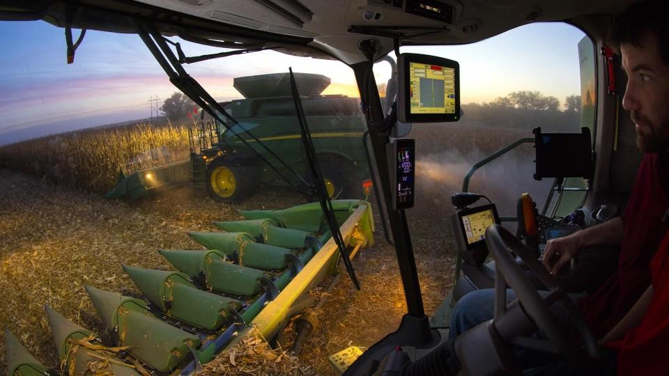 Photo of harvest from a combine's perspective