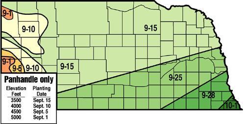 Recommended planting/seeding dates for winter wheat in Nebraska