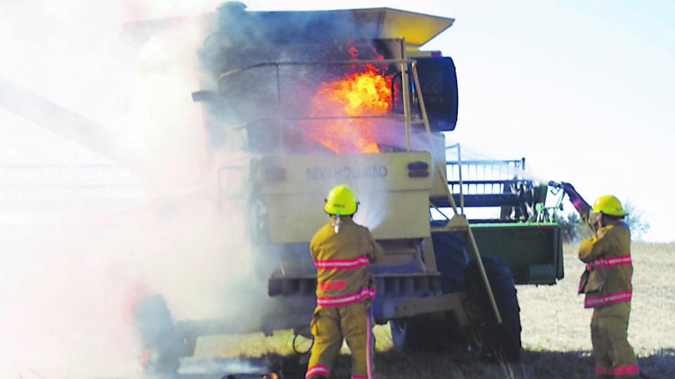 Figure 1. On Oct. 23, 2016, members of the Stanton Fire Department responded to a combine fire that started in the engine compartment. The combine was considered a total loss, but the quick response of firefighters allowed them to save the bean head, and control the fire from spreading into surrounding vegetation. (Photo by the Stanton County Sheriff's Office)