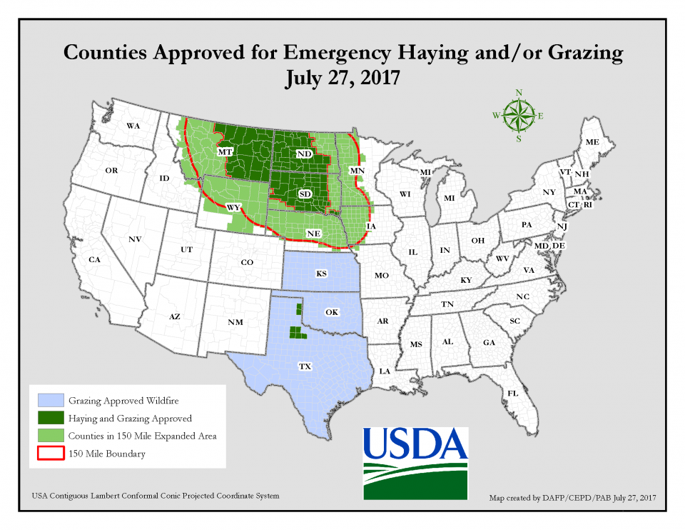 USDA map of counties approved by USDA for emergency haying or grazing