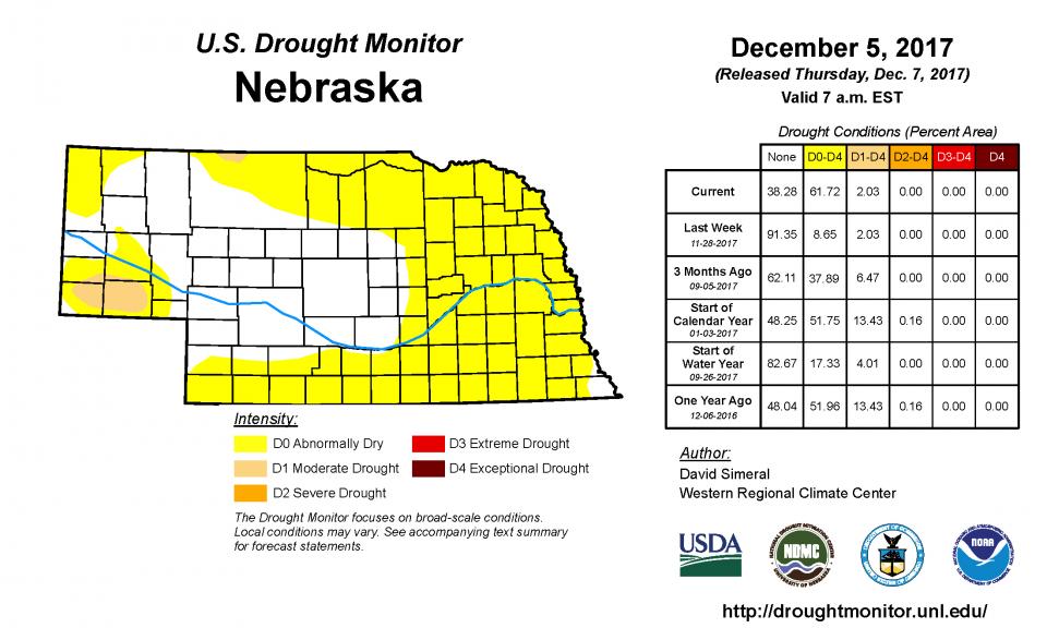 December 5, 2017 Drought Monitor for Nebraska