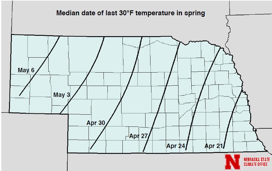 Nebraska map showing median dates for 30 F freeze in spring