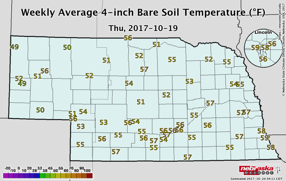 Nebraska soil temperature map