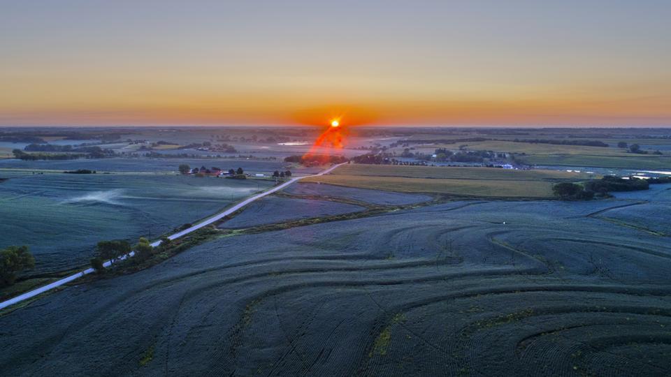 sunset on Nebraska farm